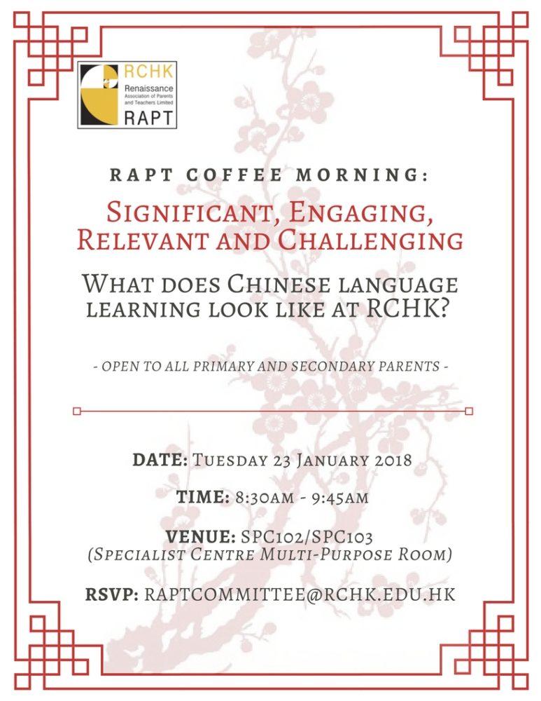 RAPT Coffee Morning 23 Jan